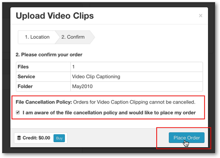 Place order video clip captioning service