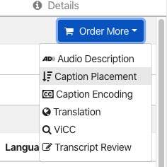 Select Caption Placement from Order drop-down menu