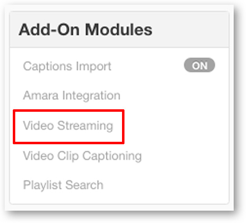 Activate Video Streaming Module from Settings