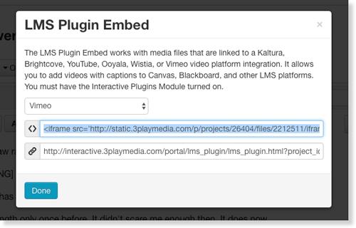 Copy iFrame embed for Vimeo interactive transcript audio description LMS plugin