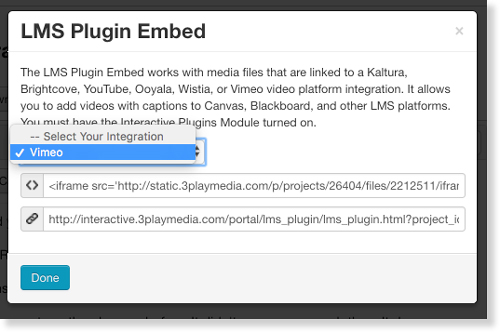 Select linked Vimeo account for LMS interactive transcript audio description embed code