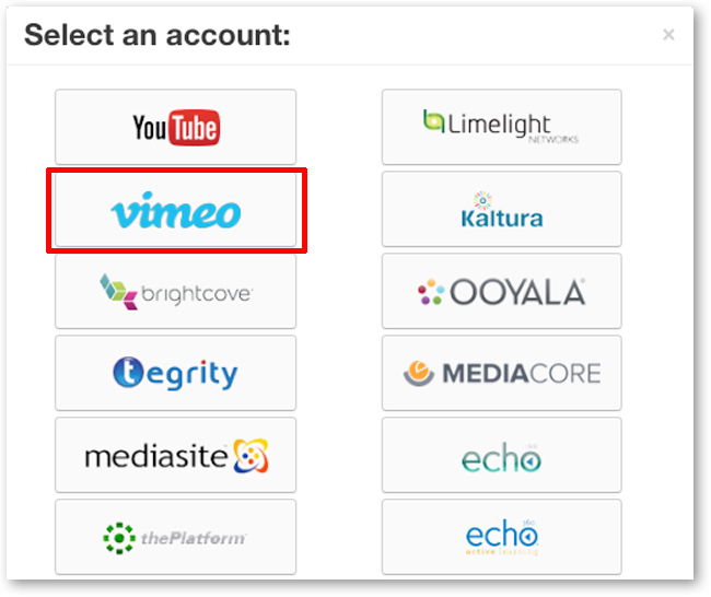 Select Vimeo Linked Account