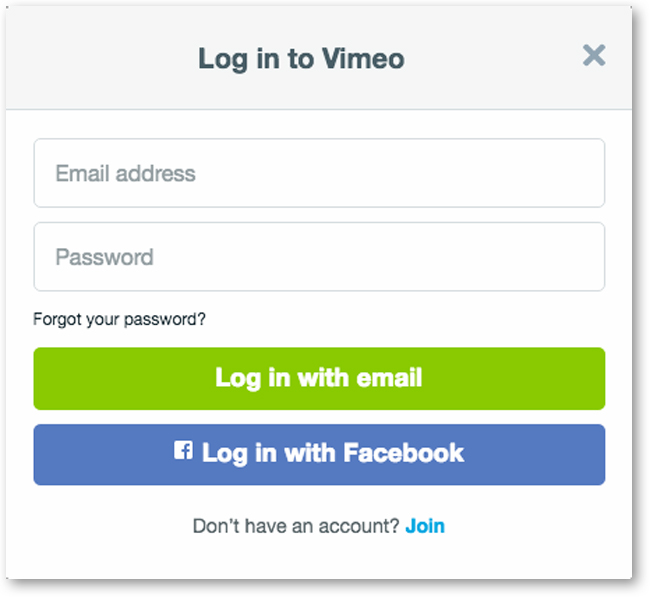 Enter email and password at Login Screen for Vimeo Account