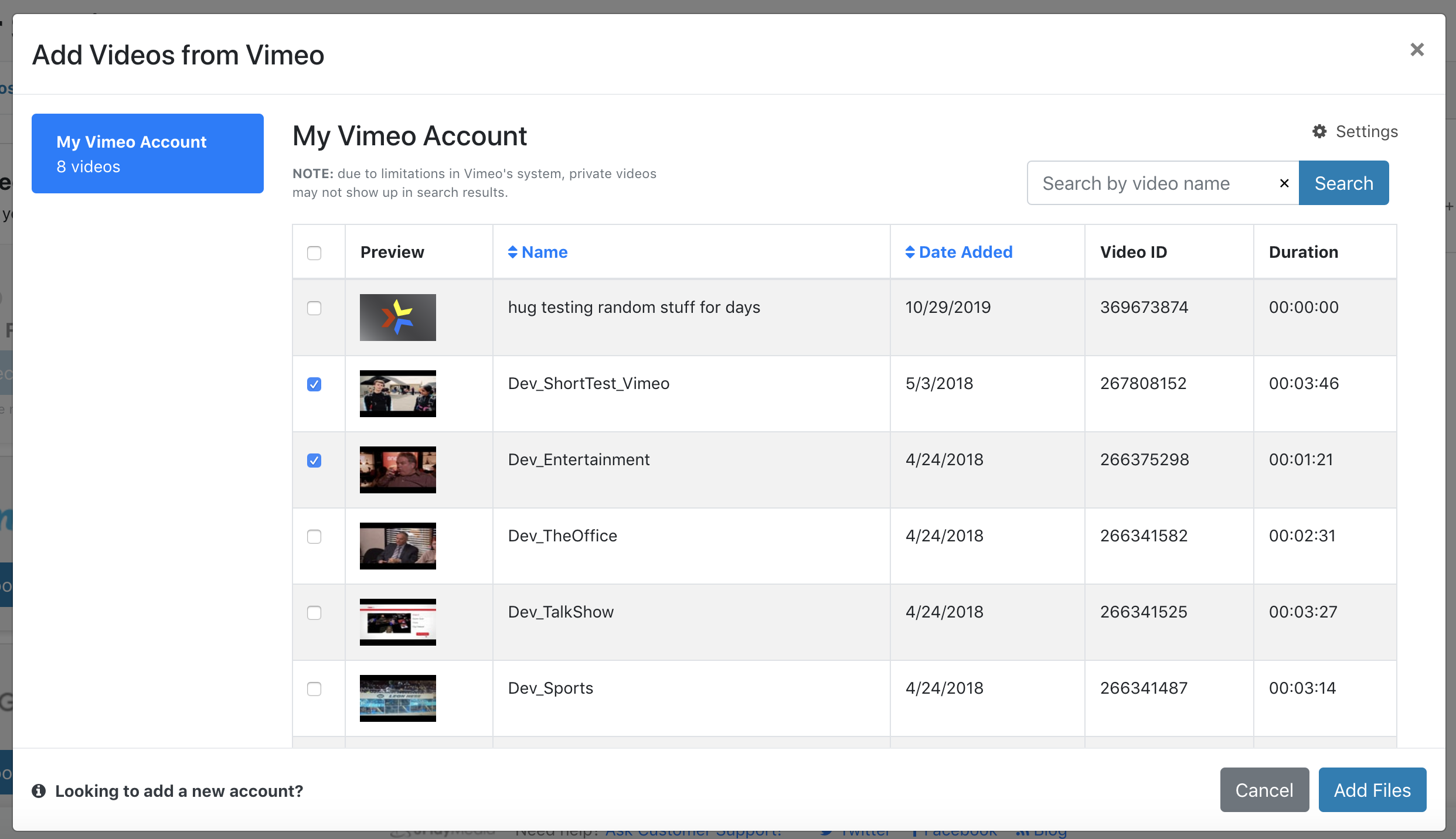 Vimeo videos requiring closed captions