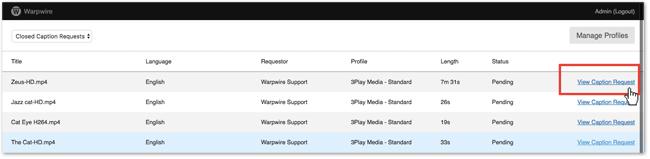 View Warpwire Caption Requests