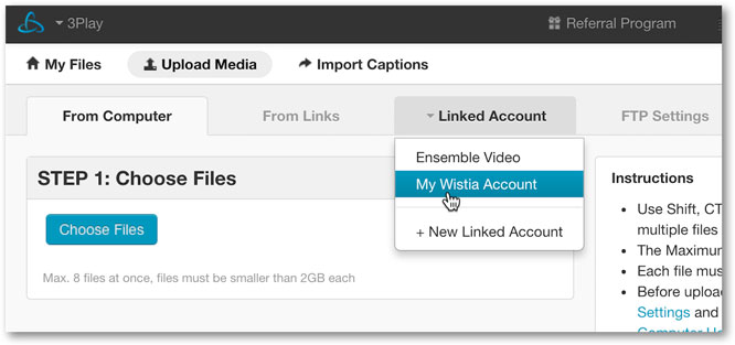 Select linked Wistia account to submit request for closed captions