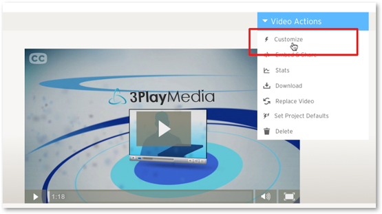 Wistia Video Actions Customize to add 3Play Media captions