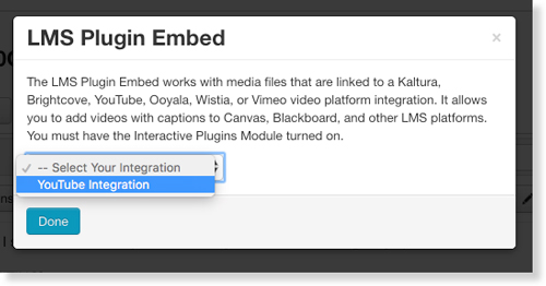 Select linked YouTube account for LMS interactive transcript audio description embed code