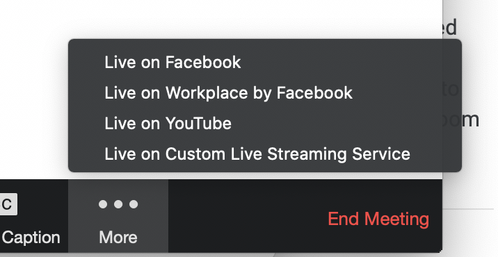More and go live on custom stream server buttons in the active zoom meeting