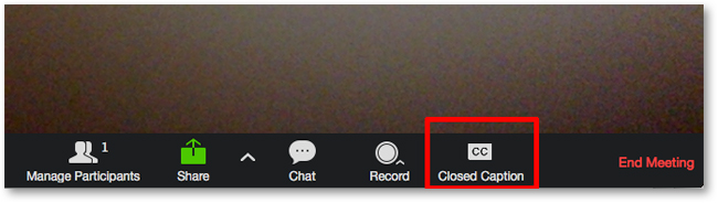 Click on the closed caption button in the active zoom meeting
