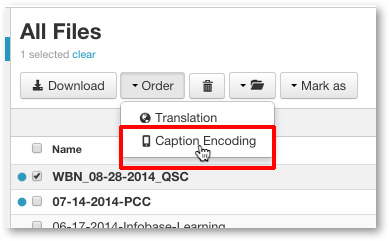 Select Caption Encoding
