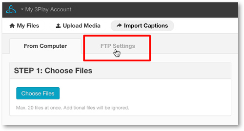Import captions via FTP