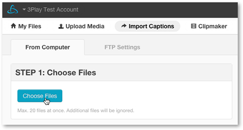 Select Closed Caption files for import service
