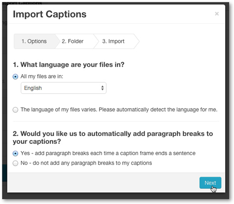Closed Caption import service options