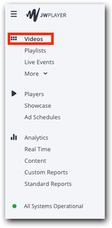Videos menu item