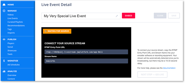 JW Player Live Auto Captioning: Schedule JW Player Live