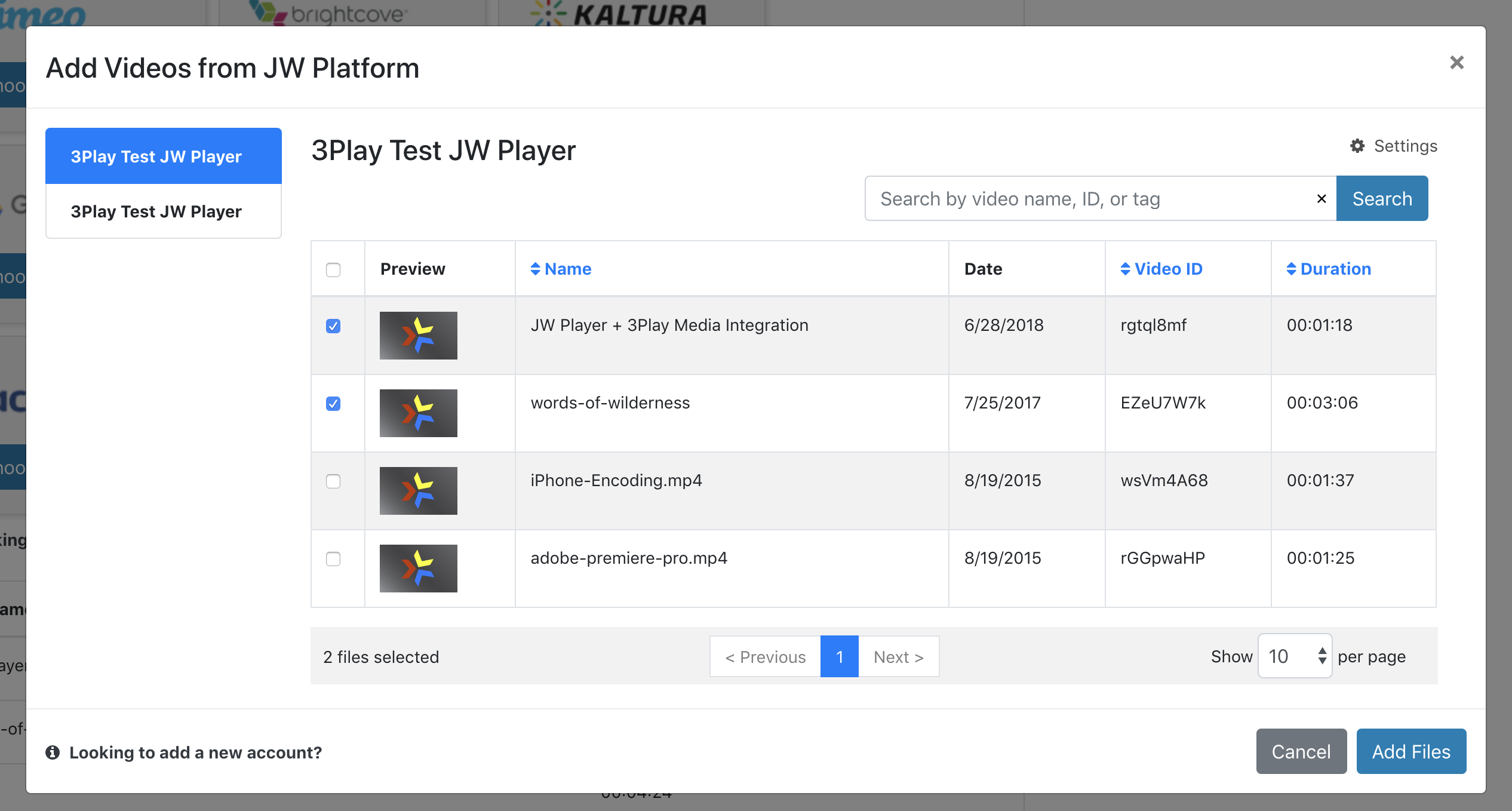 Select videos hosted on JW Platform from thumbnail feed for closed captions