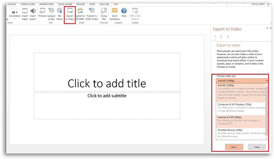 Export PowerPoint to Video for transcription to create closed captions