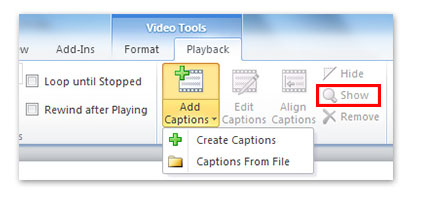 Show closed captions in PowerPoint presentation