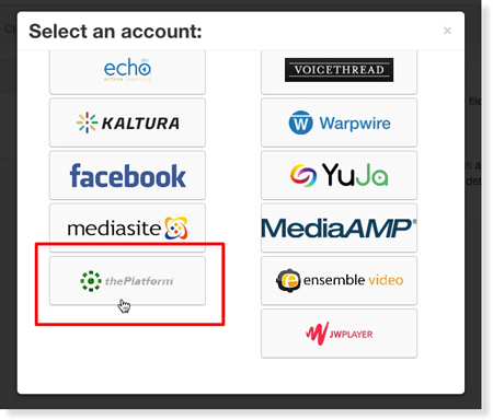 Select thePlatform from 3Play Media integration menu