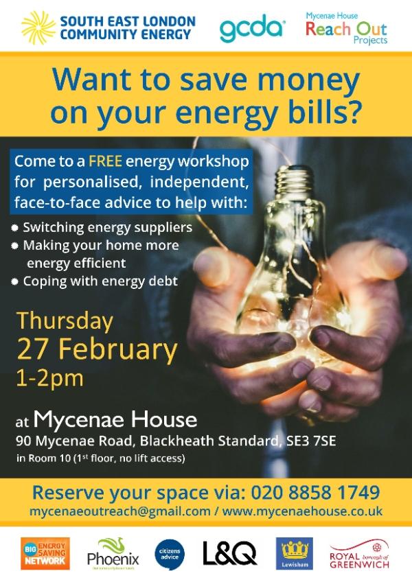 SELCE - Save money on energy bills workshop - 27th February 2020