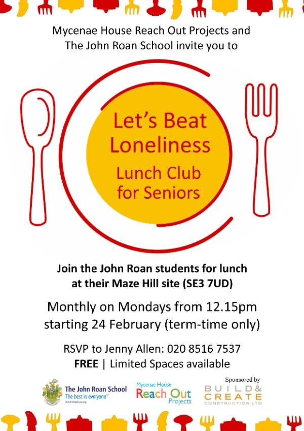Monthly 'Let's Beat Loneliness' Club for Seniors at John Roan School (FREE)