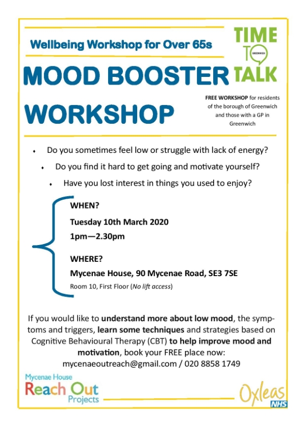 Wellbeing Workshop with Greenwich Time to Talk 'Mood' - 10th March 2020