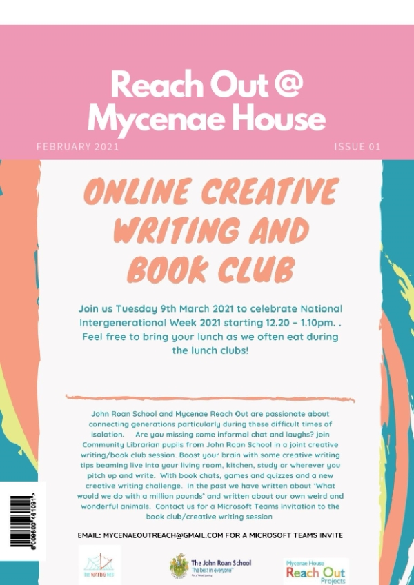 Creative Writing and Book Club with John Roan Community Librarians (Online)