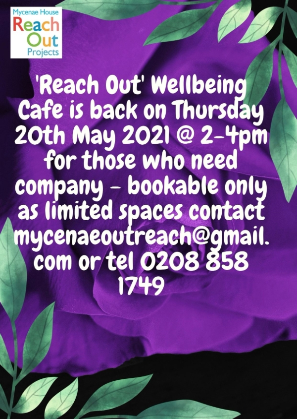 Wellbeing Cafe every Thursday at Mycenae House