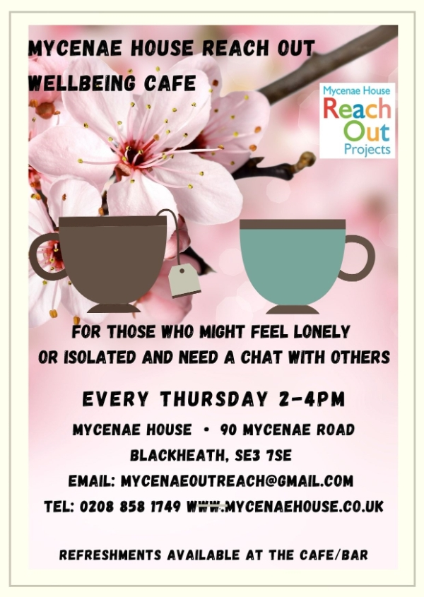 Wellbeing Cafe every Thursday 2-4pm