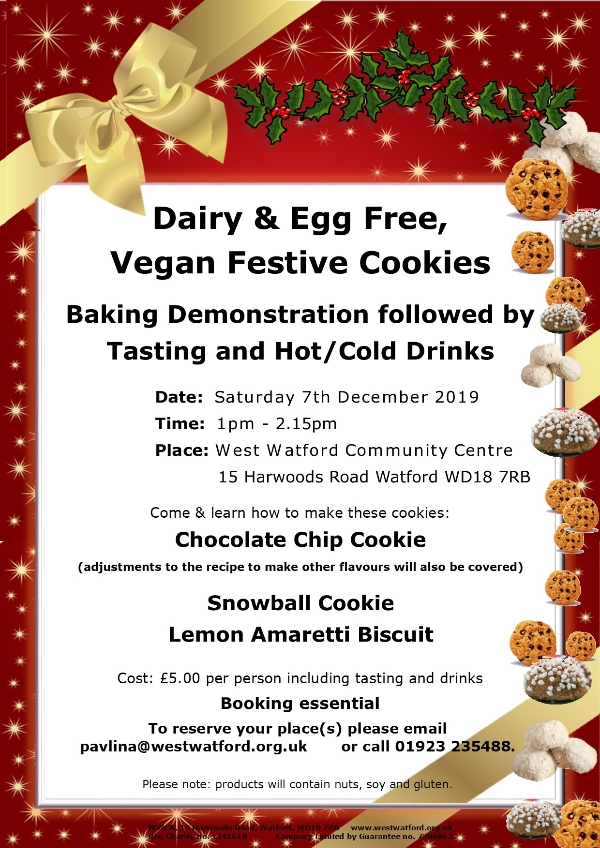 Vegan Baking Demonstration followed by tasting and hot drinks.