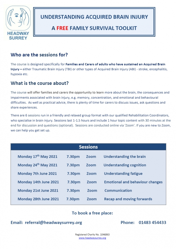 NEW FREE COURSE!    FOR FAMILIES AND CARERS OF ADULTS WHO HAVE SUSTAINED AN ACQUIRED BRAIN INJURY
