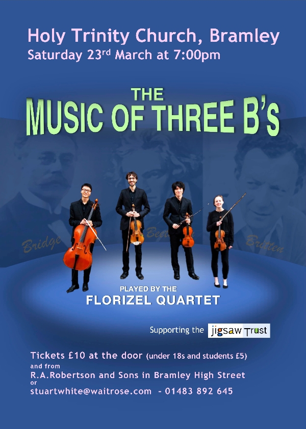 Music of Three B's - the Florizel String Quartet in Holy Trinity Church, Bramley, on Saturday 23rd March at 7pm