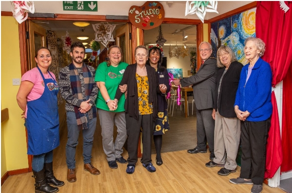 Celebrations as VIP guest launches art studio at Epsom care home