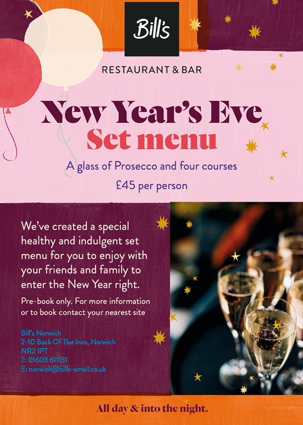 NYE at Bill's Restaurant and Bar!