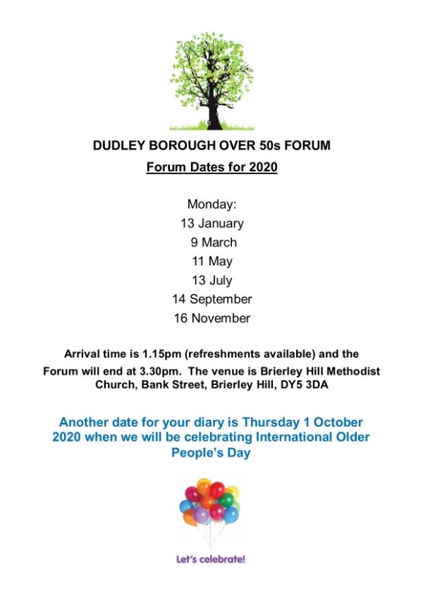 Dudley Borough Over 50's Forum New 2020 dates.