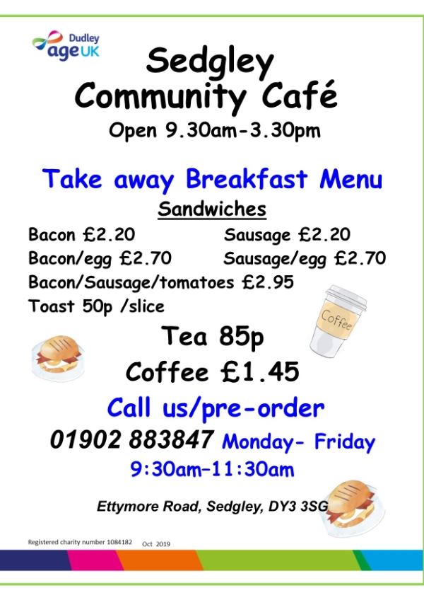 Sedgely Community Hub new breakfast service available.