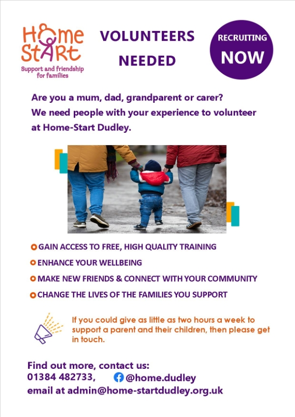 Volunteers required for Home-Start Dudley