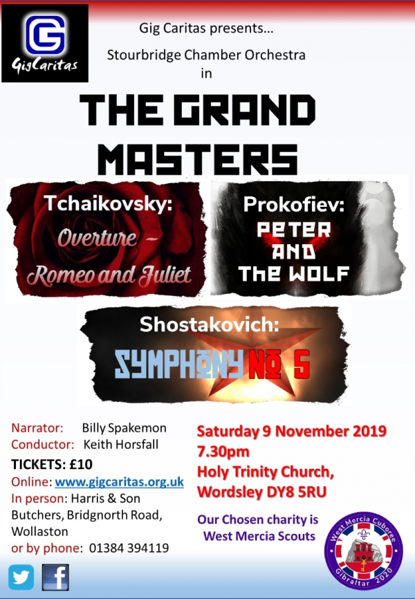 Gig Caritas presents the Stourbridge Chamber Orchestra in The Grand Masters
