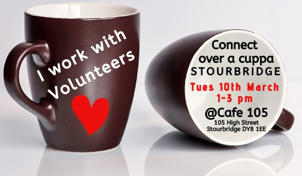 Connect with other vol managers over a cuppa in Stourbridge