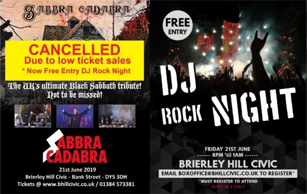 **Cancelled Black Sabbath Gig but FREE Rock Night with DJ Dodge from the Winking Man!**