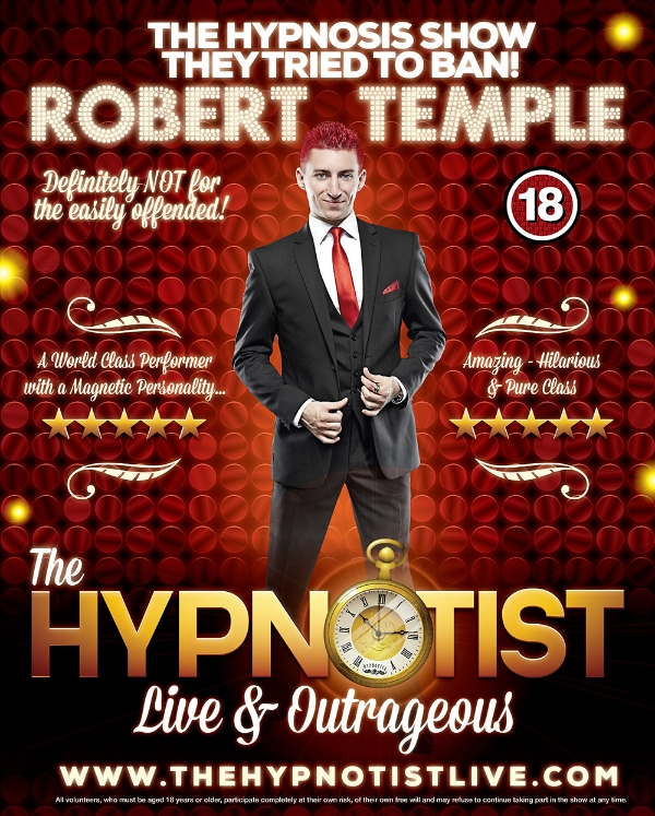 ** Win Tickets To See Robert Temple's Outrageous Hypnotist show on 19th September 2019**