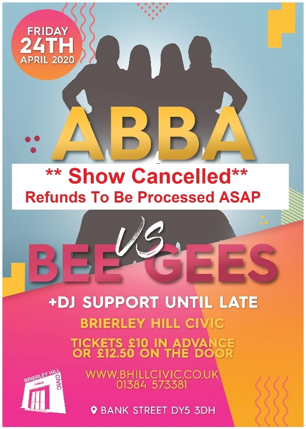 **ABBA vs BeeGees 24th April - Cancelled**