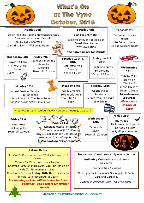 What's on at The Vyne - Knaphill