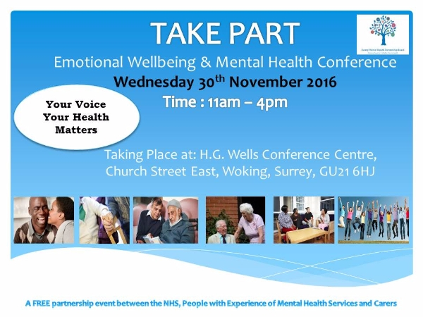 Emotional Wellbeing and Mental Health service user and carer event