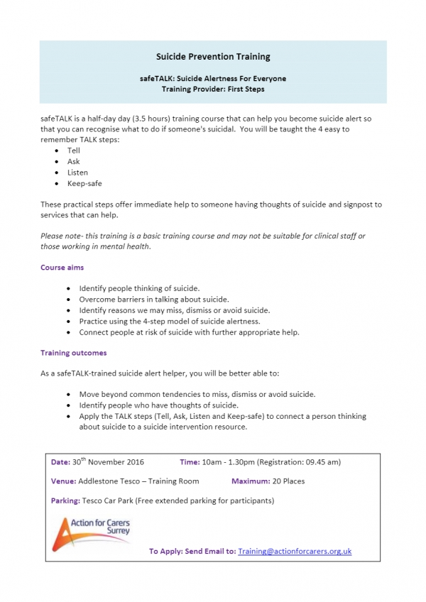Suicide Prevention Training For Carers