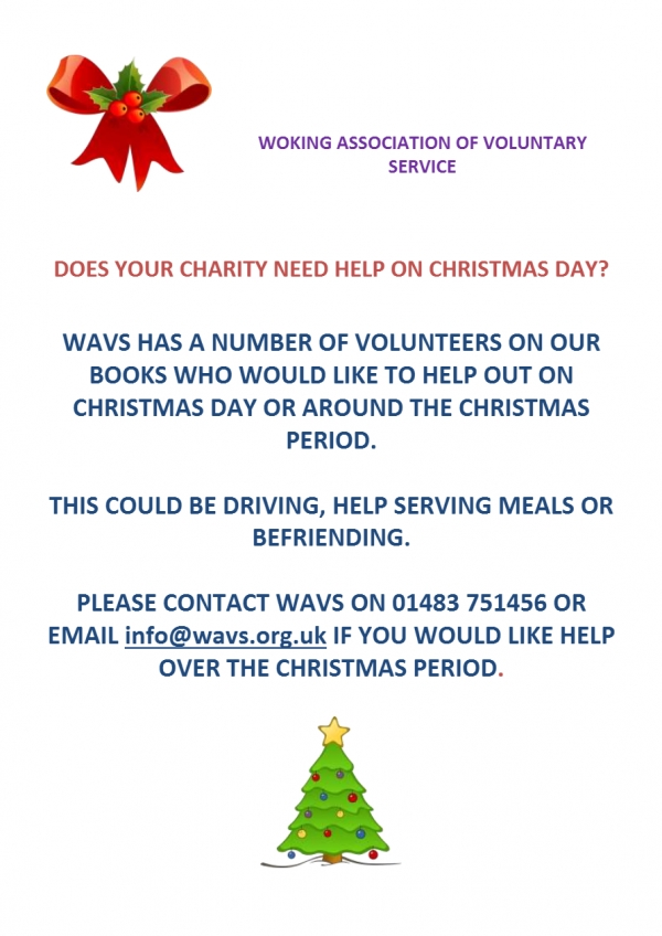 Are you looking for volunteers around Christmas