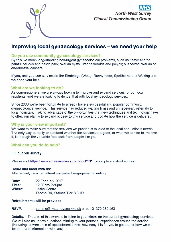 Improving local gynaecology services – we need your help