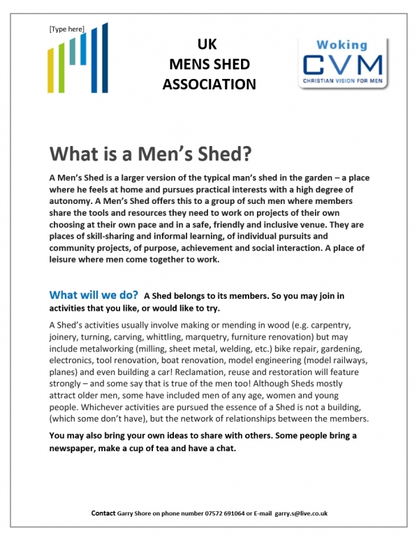 Men in Shed's - Woking
