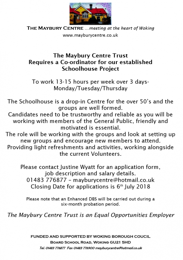 The Maybury Centre - Job Vacancy